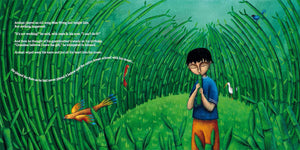 In a scene from Phoenix Song, a Malaysian boy plays a Chinese flute from within a bamboo grove