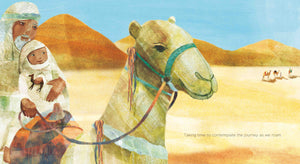 An illustration from diverse picture book Taking Time by Jo Loring-Fisher of an Arabic father and son crossing the desert on a camel
