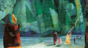 An illustration from diverse picture book Taking Time by Jo Loring-Fisher of a wintry evening with families gazing up at the northern lights