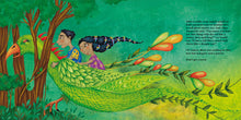 Load image into Gallery viewer, In a scene from The Ammuchi Puchi, an Indian brother and sister ride on the back of a mythical bird