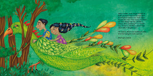 In a scene from The Ammuchi Puchi, an Indian brother and sister ride on the back of a mythical bird