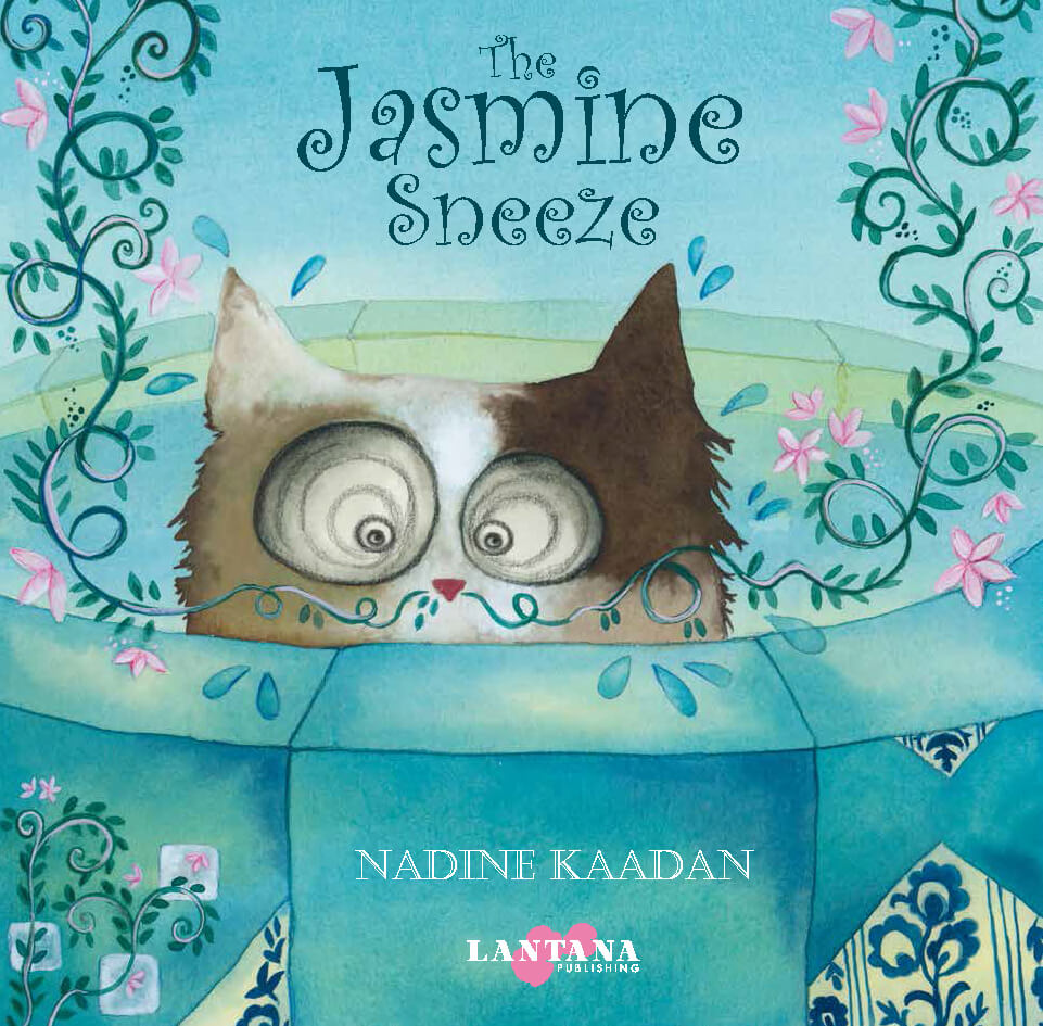 A cat with a jasmine plant growing out of his nose peeks out from inside a well on the cover of diverse book The Jasmine Sneeze