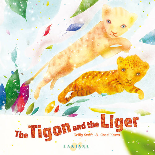 On the cover of diverse book The Tigon and the Liger, a tigon and liger leap toward the reader