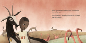 In a scene from The Wooden Camel, a Kenyan boy watches over his goats