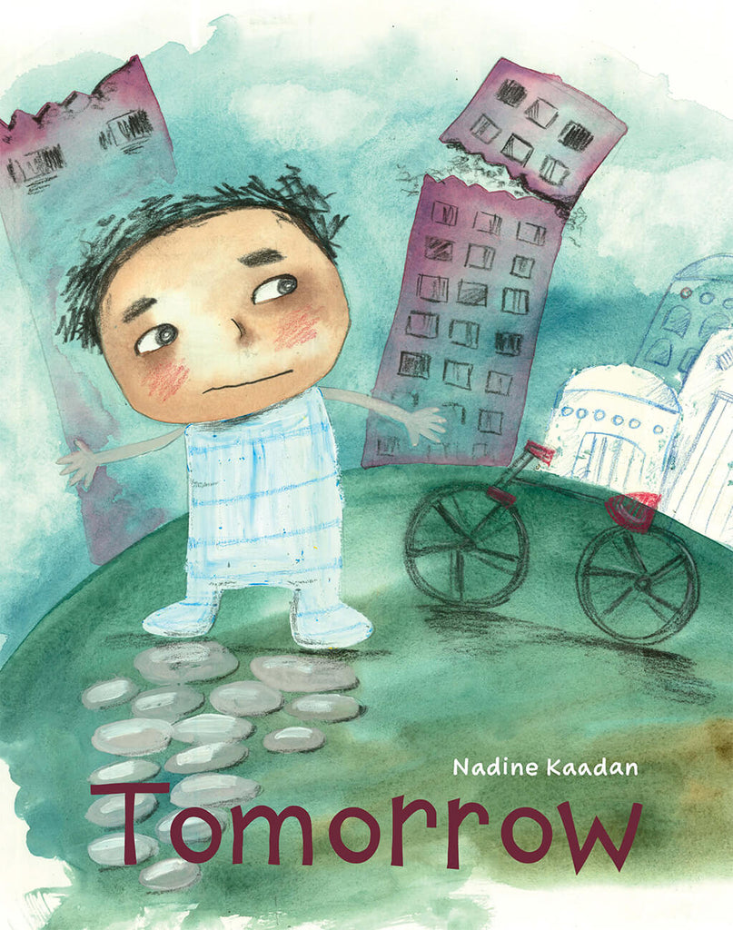 Cover image of diverse book Tomorrow by Nadine Kadaan showing a young boy behind whom a skyscraper is falling apart. He's eyeing is unhappily