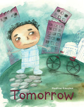 Load image into Gallery viewer, Buildings collapse behind a Syrian boy on the cover of diverse book Tomorrow
