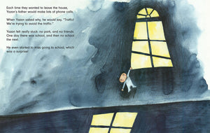 In a scene from Tomorrow a young boy hangs on to the ledge of a window to get a glimpse outside