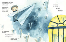 Load image into Gallery viewer, In a scene from Tomorrow a young boy rides a paper airplane