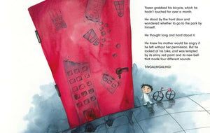 In a scene from Tomorrow a young boy hesitates in front of a red door before he steps outside