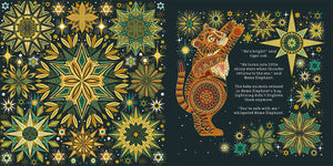 In a scene from You're Safe With Me a tiger cub reaches up to the twinkling stars surrounding him