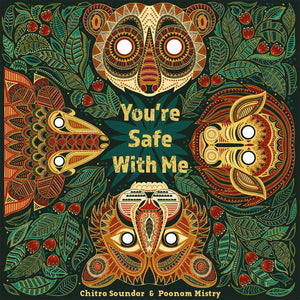 On the cover of diverse book You're Safe With Me a baby pangolin, monkey, loris and tiger are surrounded by the lush vegetation of the Indian forest