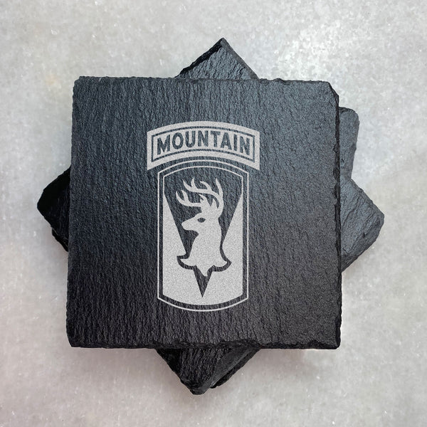 VT National Guard Mountain Slate Coasters | ManganLabs Custom Creations