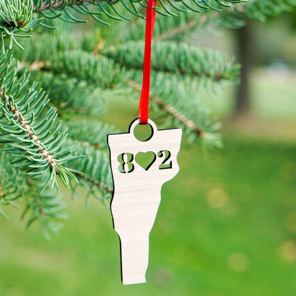 Vermont 802 Heart Christmas Ornament main image | ManganLabs Custom Creations