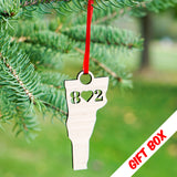 Vermont 802 Heart Christmas Ornament With Gift Box | ManganLabs Custom Creations