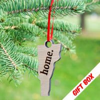 "Vermont ""home."" Ornament with gift box 