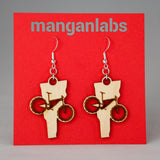 Vermont Mountain Bike Earrings Front | ManganLabs Custom Creations
