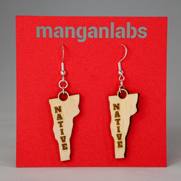 Vermont NATIVE Earrings Front | ManganLabs Custom Creations
