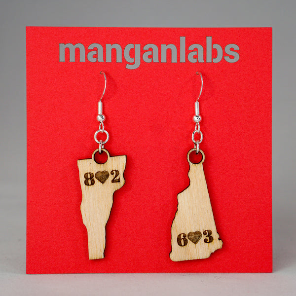 Vermont & New Hampshire Earrings Main Image | ManganLabs Custom Creations