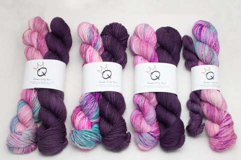 PRE-ORDER Two-Color Project Kits Wool You Be My Valentine & Eggplant