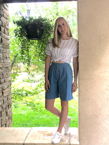 1980s Vintage Preppy Chambray Shorts