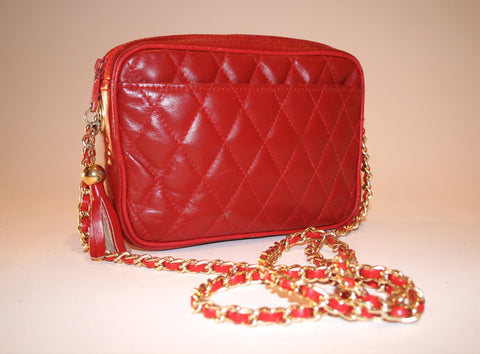Vintage Red Quilted Shoulder Bag