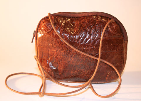 Leather Croc Embossed Cross Body Purse