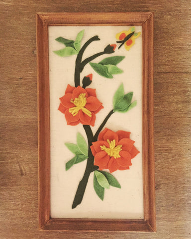 Vintage 70s Framed Floral Felt Artwork
