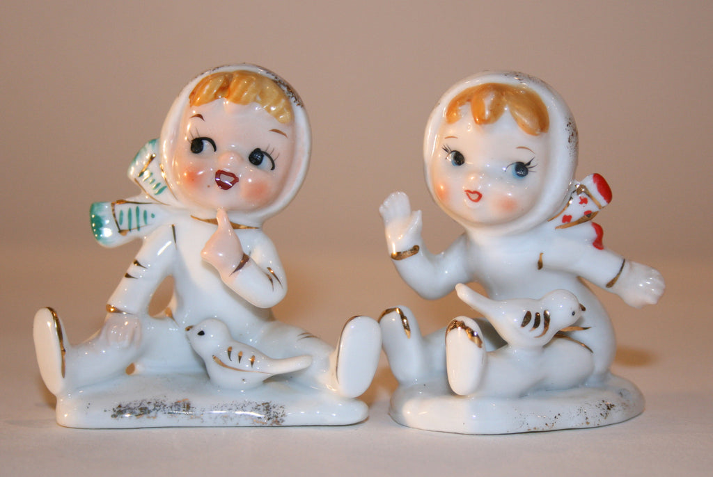 1950s Ceramic Winter Figurines - Vintage Swag Chics