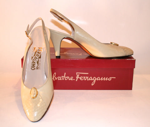 Beige Slingback Salvatore Ferragamo Shoes