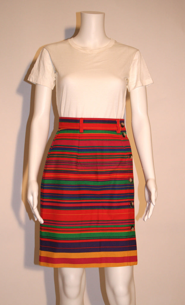 Bright Striped Cotton 80s Wrap Skirt - Vintage Swag Chics