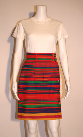 Bright Striped Cotton 80s Wrap Skirt