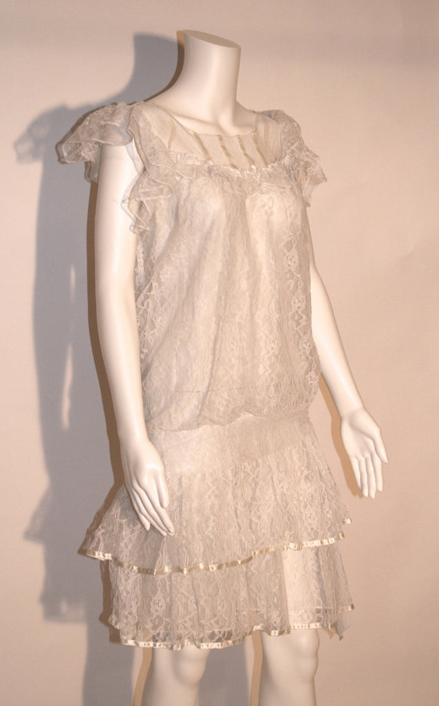 70s White Lace Cocktail Dress - Vintage Swag Chics