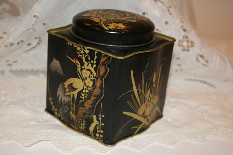 Vintage Black and Gold Tin