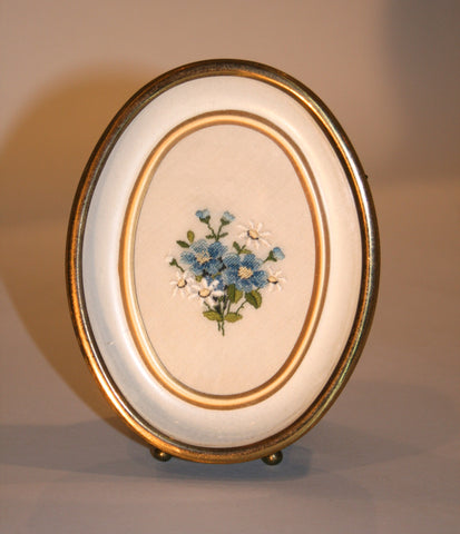 1950s Needlepoint and Embroidery Framed Oval