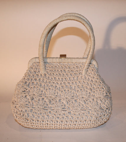 1960s Cream Crochet Handbag