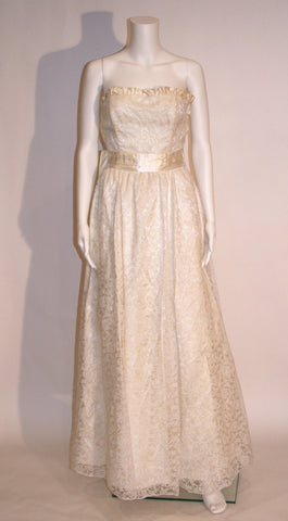 Vintage 70s Lace Maxi Prom Dress