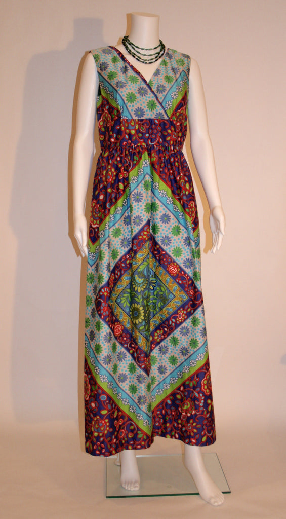 Vintage Mod Printed Maxi Dress - Vintage Swag Chics