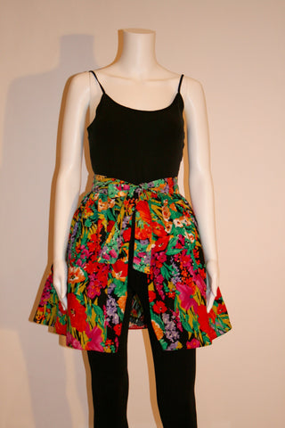 Vintage Totally 80's Floral Skirt With Black Tulle