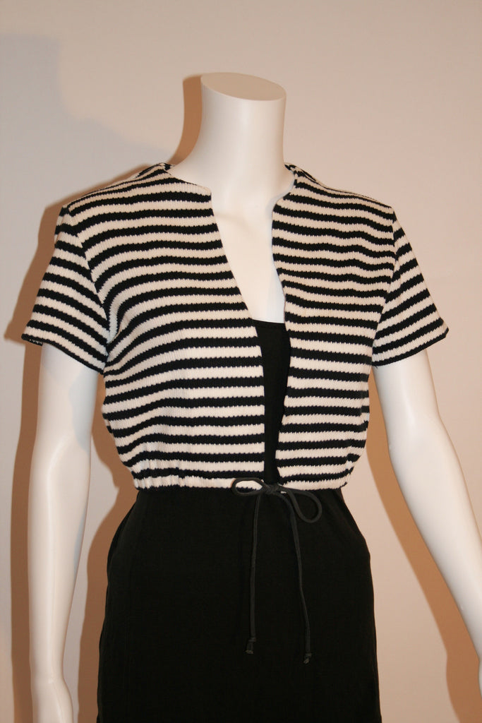 70s Cropped Black & White Knit Jacket/ Top - Vintage Swag Chics