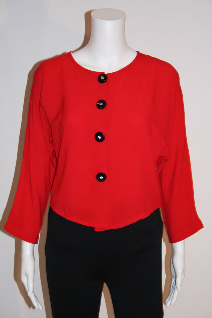 80s Sassy Cropped Red Jacket - Vintage Swag Chics