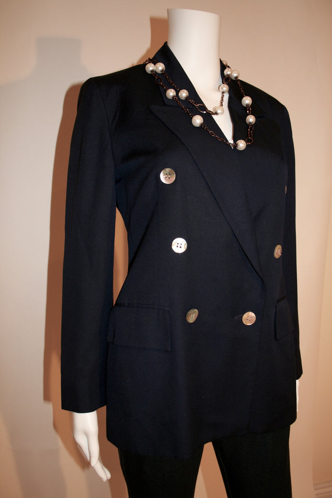 80's Christian Dior Navy Blue Jacket - Vintage Swag Chics
