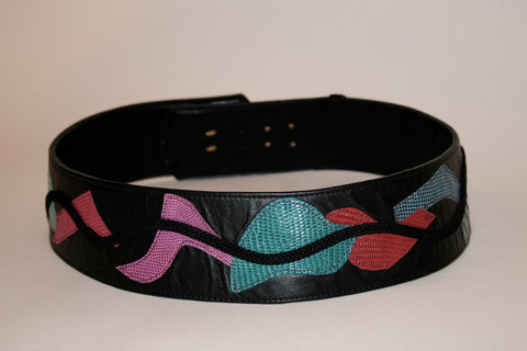 80s Colorful Patterned Black Leather Belt