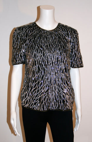 Vintage Laurence Kazar Beaded and Sequined Patterned Top