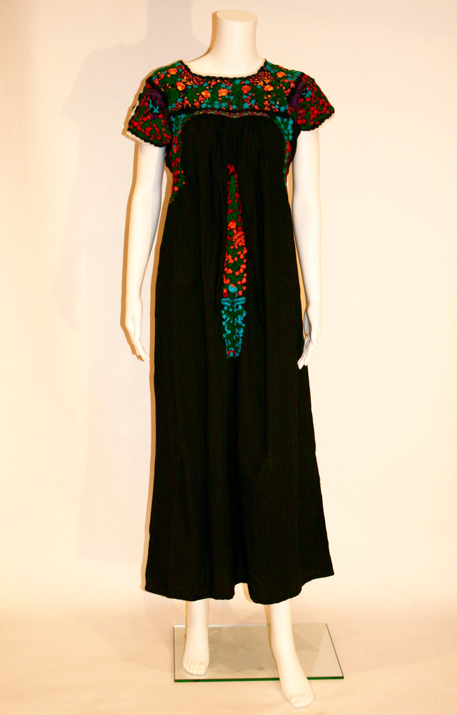Black Embroidered Mexican Wedding Dress - Vintage Swag Chics