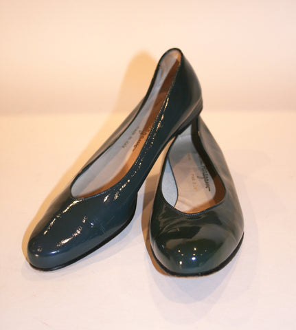 Vintage Teal Patent Ferragamo Shoes