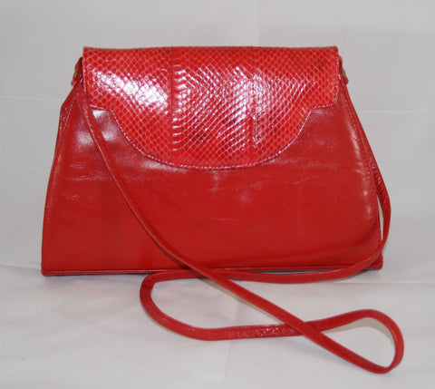 Vintage Red Leather & Snakeskin Handbag