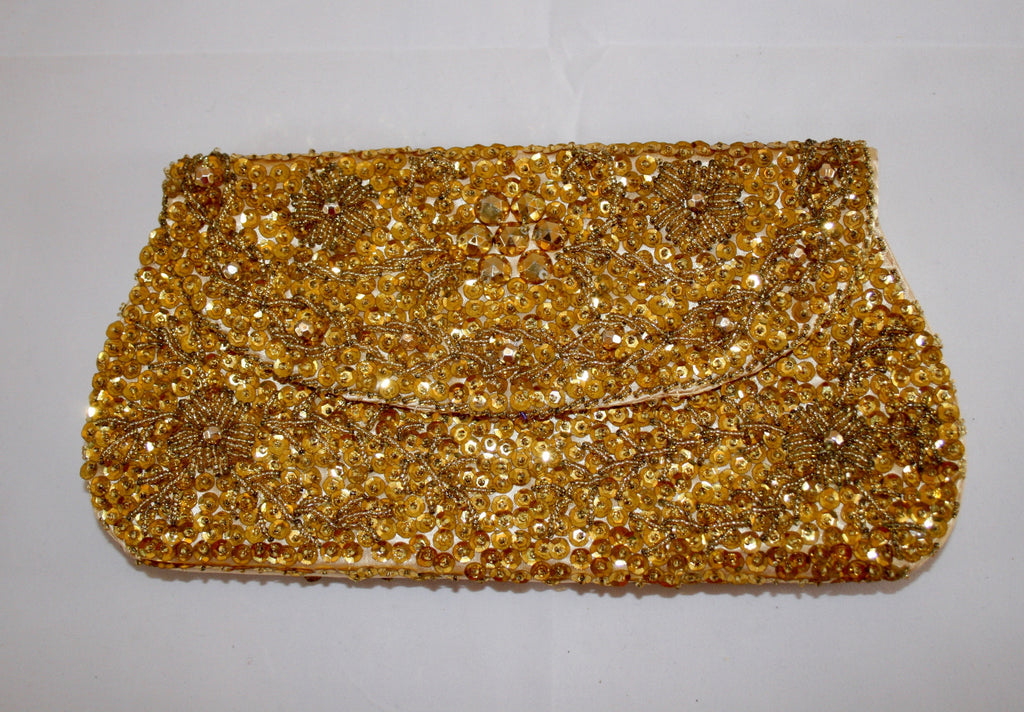 60s Gold Sequins Evening Clutch - Vintage Swag Chics