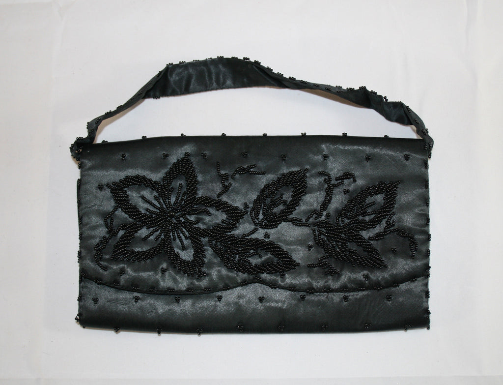 Vintage 60s Black Satin Beaded Clutch - Vintage Swag Chics