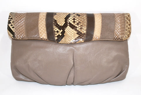 80s Leather and Snakeskin Purse