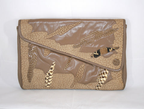 Vintage 80s Textured Leather and Snakeskin Handbag